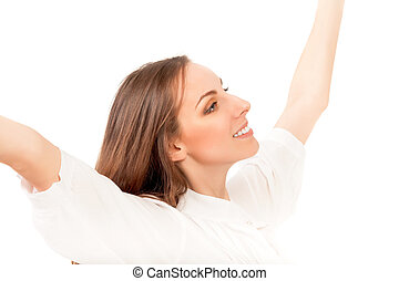 happy young woman open her arms