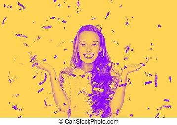 happy young woman or teen girl in fancy dress