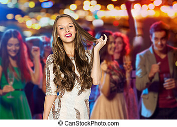 happy young woman or teen girl in fancy dress - people,...