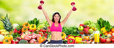 Happy young woman over diet background.