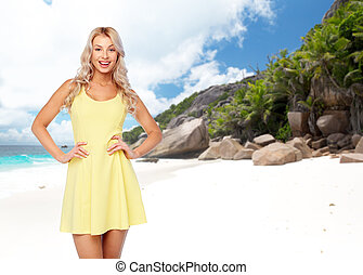 happy young woman over exotic island beach