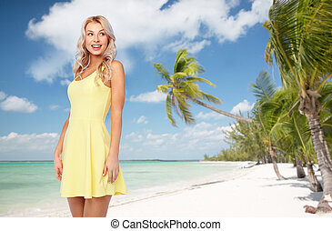 happy young woman over exotic tropical beach