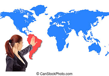 Happy young woman pointing on map
