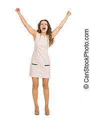 Happy young woman rejoicing success