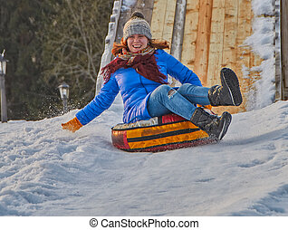 Happy Young Woman Sleigh Ride