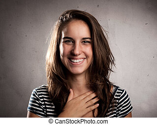 happy young woman smiling