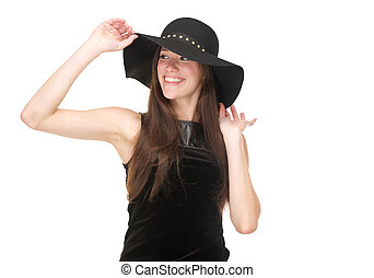 Happy young woman smiling with black hat