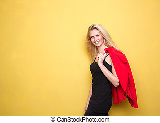 Happy young woman smiling with jacket