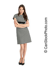 happy young woman standing with folded hands on white background