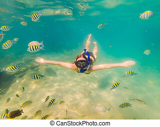 Happy young woman swimming underwater in the tropical ocean