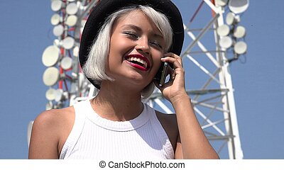 Happy Young Woman Talking On Cell