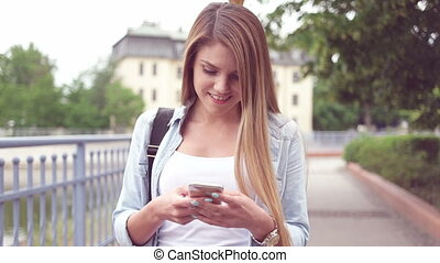 Happy Young Woman Texting