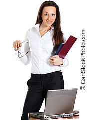 Happy young woman using a laptop