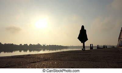 Happy Young Woman Walks in a Green Dress on The Dnipro Bank in Slo-Mo