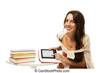 happy young woman with books and ebook on white background