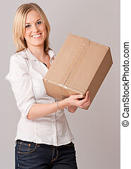 Happy Young Woman with box