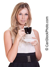 happy young woman with cup of coffee on a white background