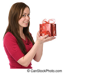 happy young woman with gift over white