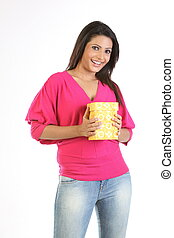 happy young woman with giftbox