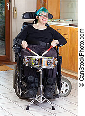 Happy young woman with infantile cerebral palsy