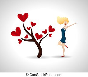 Happy young woman with love tree. Tree with red heart