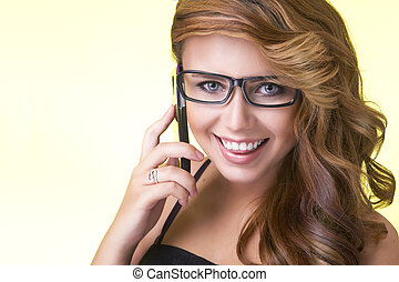 Happy young woman with phone