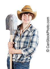 young  woman   with spade