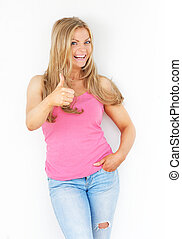 Happy young woman with thumbs up gesture