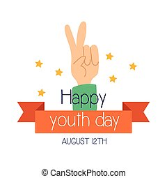 happy youth day lettering with hand peace and love symbol flat style