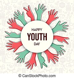 Happy Youth Day teen hand greeting card