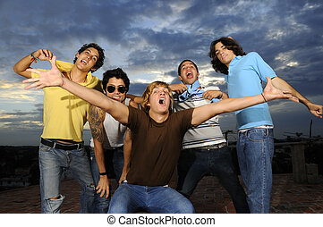 Happy youth - Portrait of young trendy group of male friends...