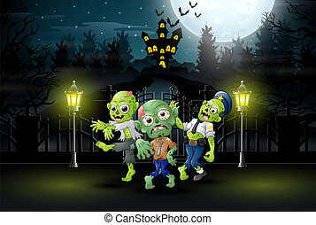 Happy zombie celebrate halloween party outdoors at night