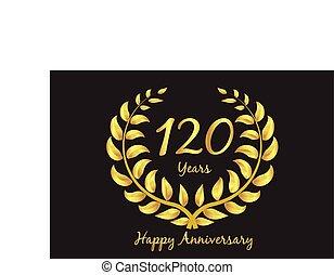 Happy120th anniversary gold wreath laurel
