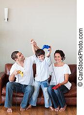 happyfamilyplayingvideogames