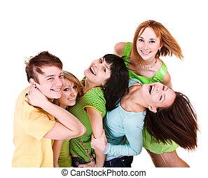 happyl, gens., groupe, jeune
