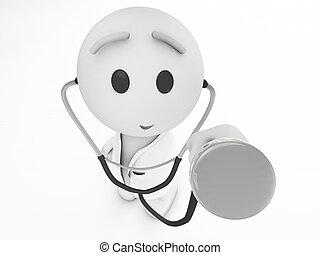 happyman, isolé, 3d, series), medic, (3d, mignon