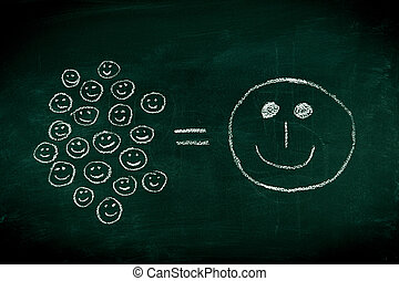 Many small joys can give you happyness - concept illustrated on chalkboard