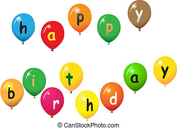 hapy birthday - various baloons with letters
