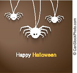 Hapy Halloween background with cute spiders