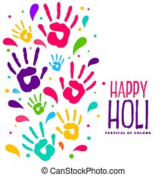 hapy holi colorful hand prints background design
