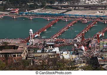 Har ki Pauri from above during famous Kumbha mela festival...
