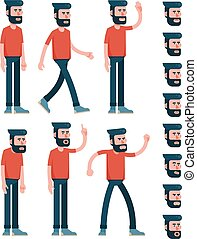 ?haracter man with a beard in trousers and a T-shirt in various poses