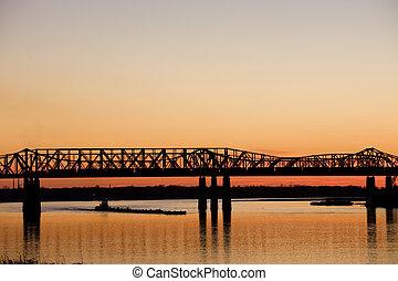 Harahan Bridge - Mississippi river under old railroad bridge...