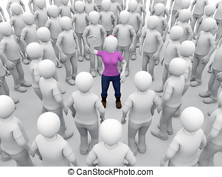 harassment - A woman surrounded for men is raising his hand...