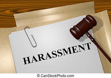 Harassment concept - Render illustration of Harassment title...