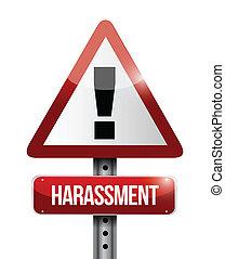 harassment, ostrzeżenie, droga, ilustracja, znak