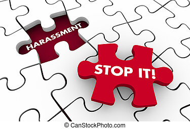 Harassment Stop it Sexual Injustice Unwanted Behavior Puzzle 3d Illustration