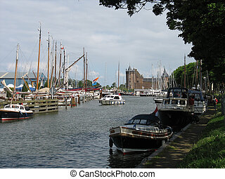 Harbor and castle in Muiden, Holland.