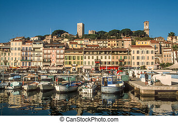 Harbor and old town of Cannes, Cote Azur, France