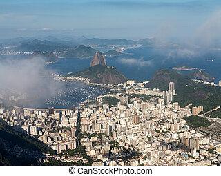 Harbor and skyline of Rio de Janeiro Brazil - Aerial view of...